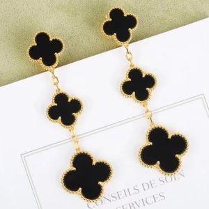 18K Gold Onyx Four-Leaf Clover Triple Earrings